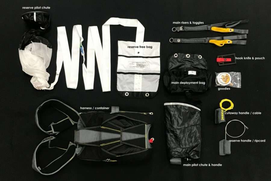 contents of a skydiving container